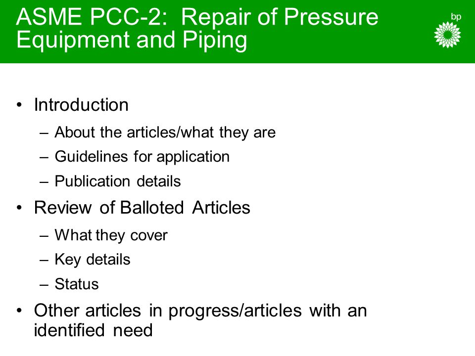 ASME PCC-2: Repair of Pressure Equipment and Piping