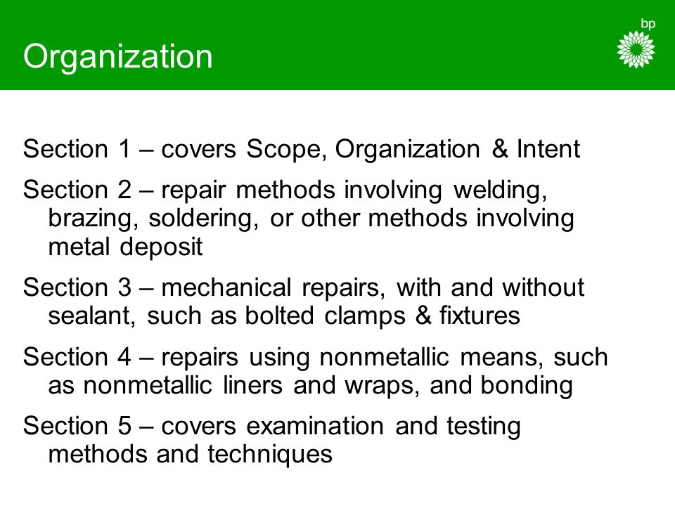 Organization Section 1 – covers Scope, Organization & Intent