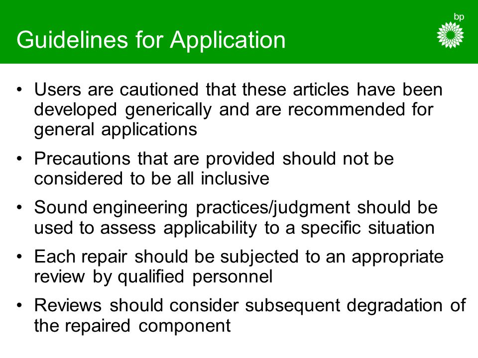 Guidelines for Application