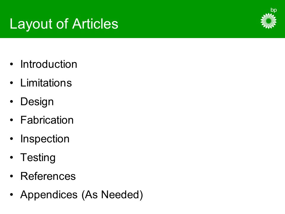 Layout of Articles Introduction Limitations Design Fabrication