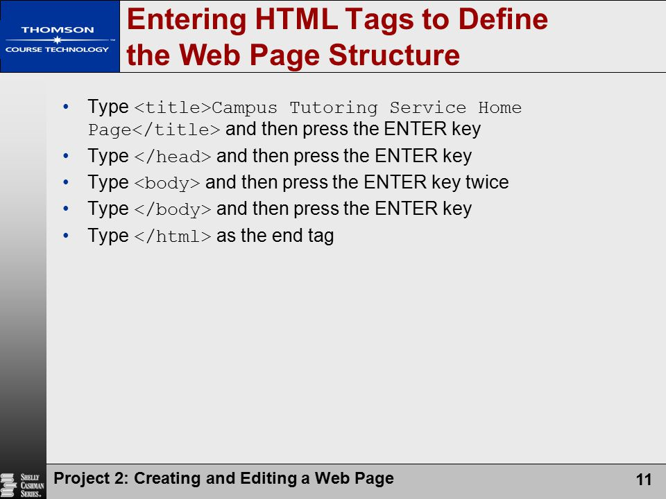Entering HTML Tags to Define the Web Page Structure