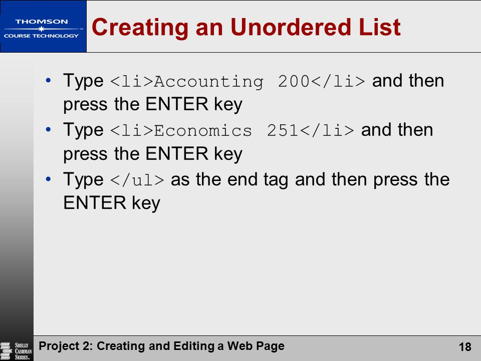 Creating an Unordered List