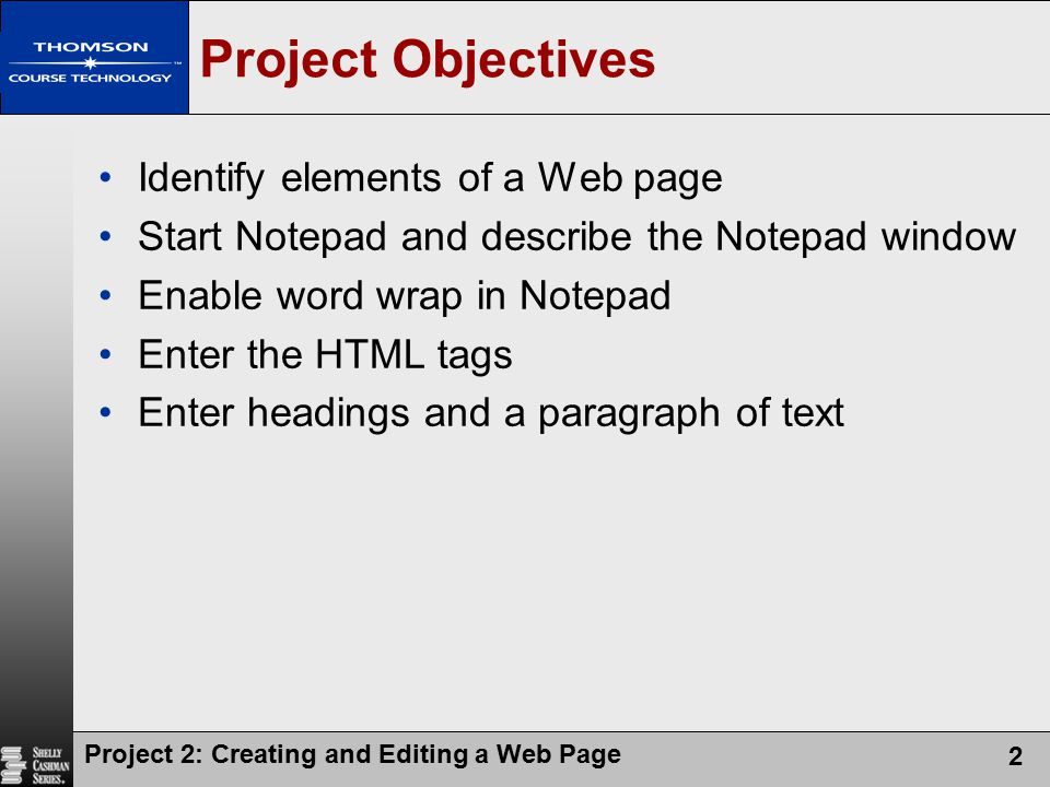 Project Objectives Identify elements of a Web page