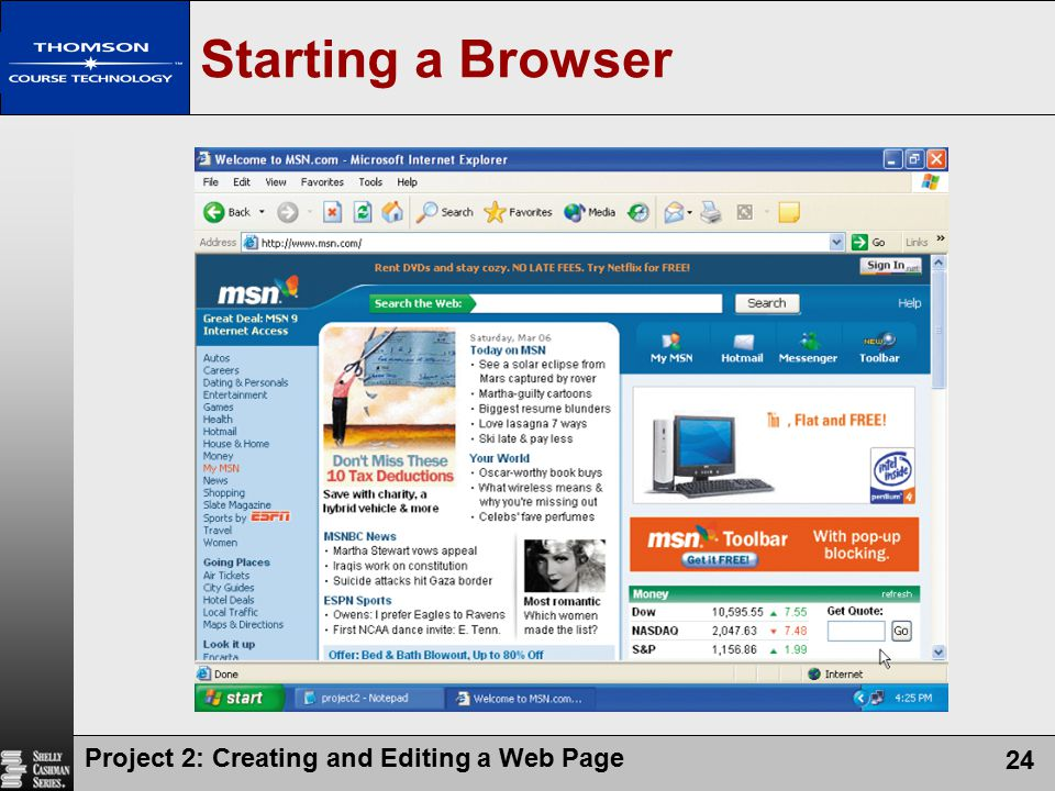 Starting a Browser Project 2: Creating and Editing a Web Page