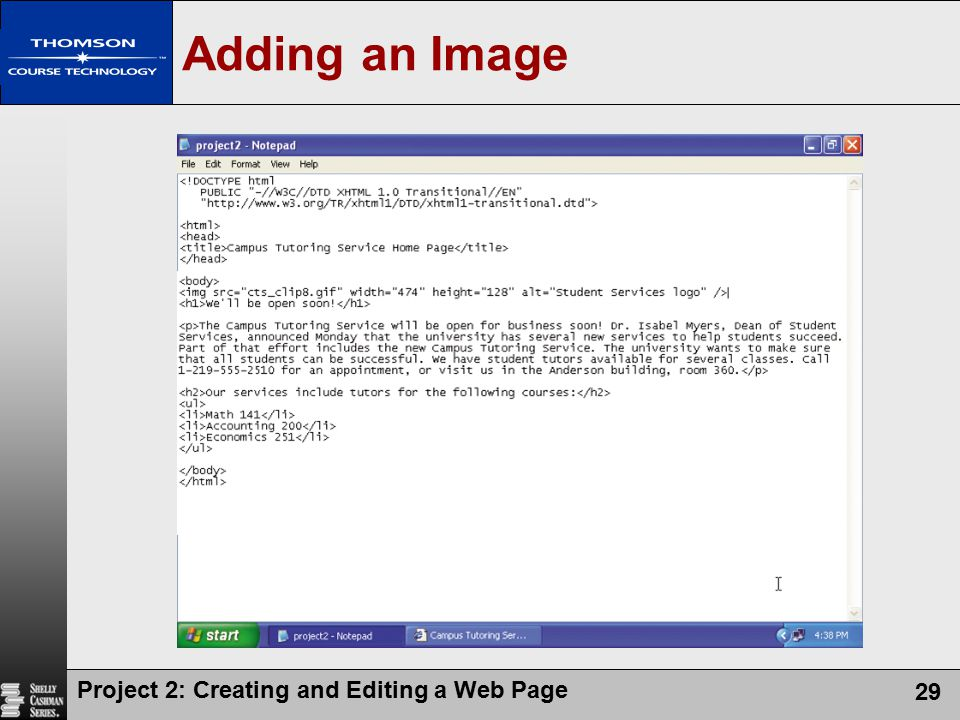Adding an Image Project 2: Creating and Editing a Web Page