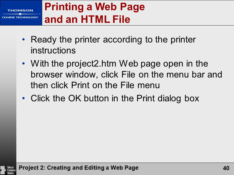 Printing a Web Page and an HTML File