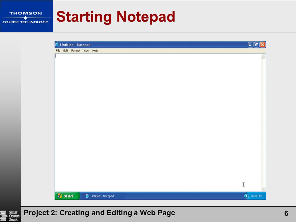 Starting Notepad Project 2: Creating and Editing a Web Page