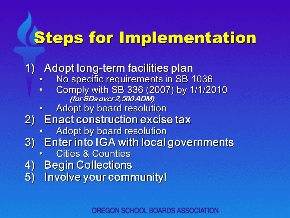 Steps for Implementation