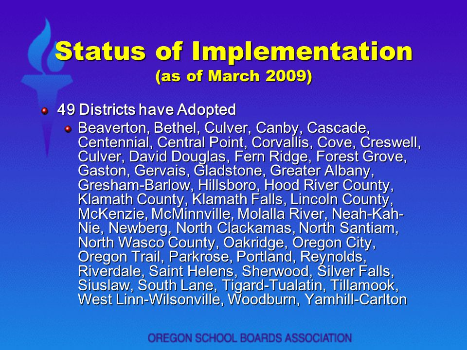 Status of Implementation (as of March 2009)