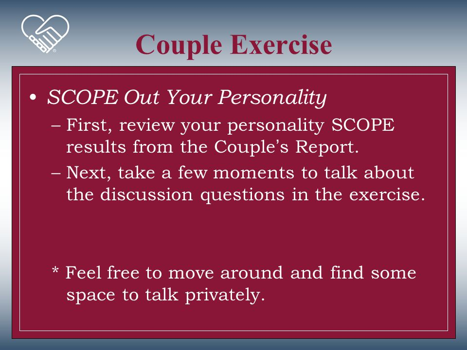 Couple Exercise SCOPE Out Your Personality