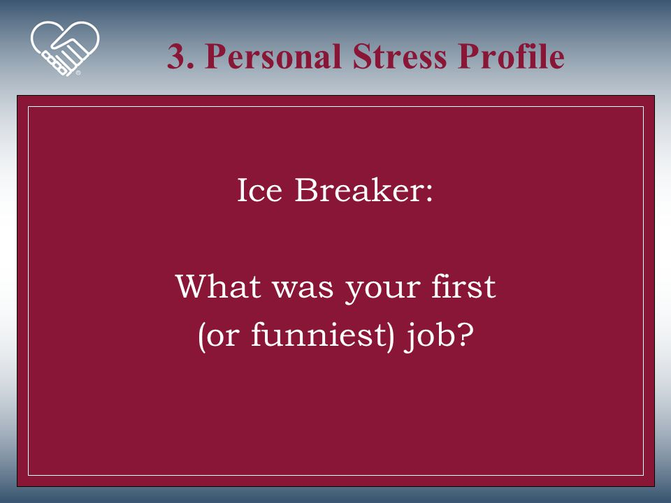 3. Personal Stress Profile