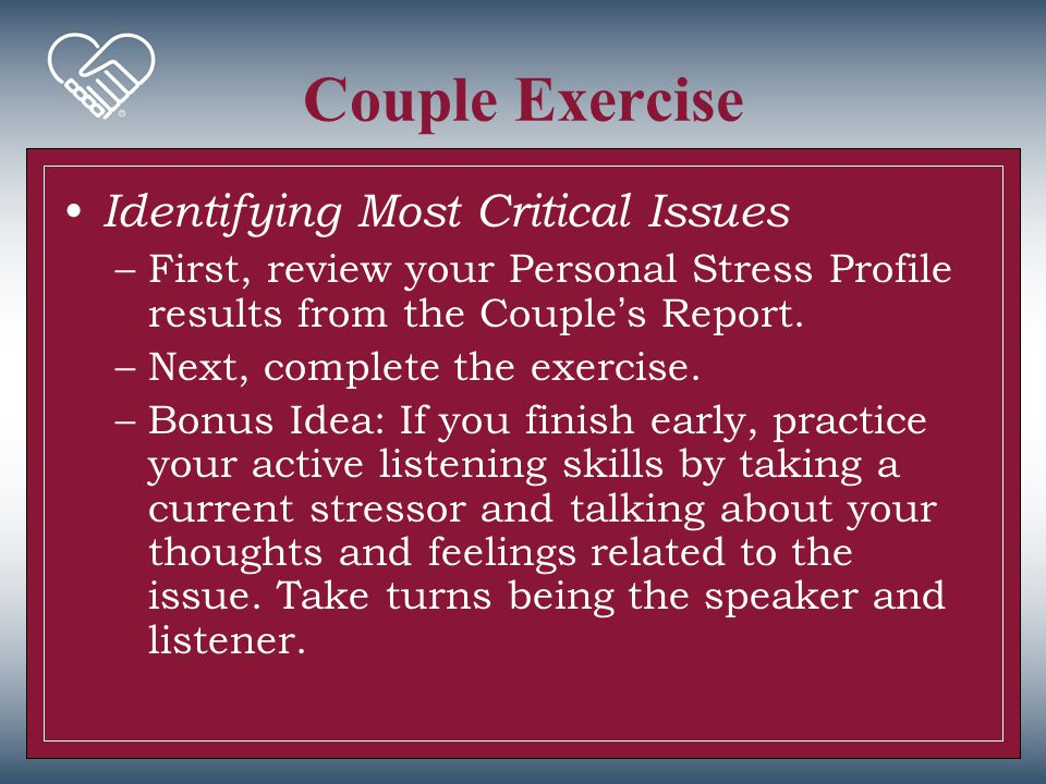 Couple Exercise Identifying Most Critical Issues