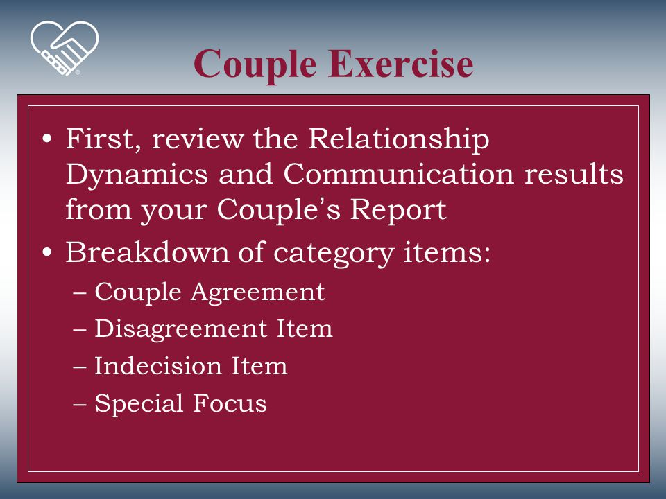 Couple Exercise First, review the Relationship Dynamics and Communication results from your Couple's Report.