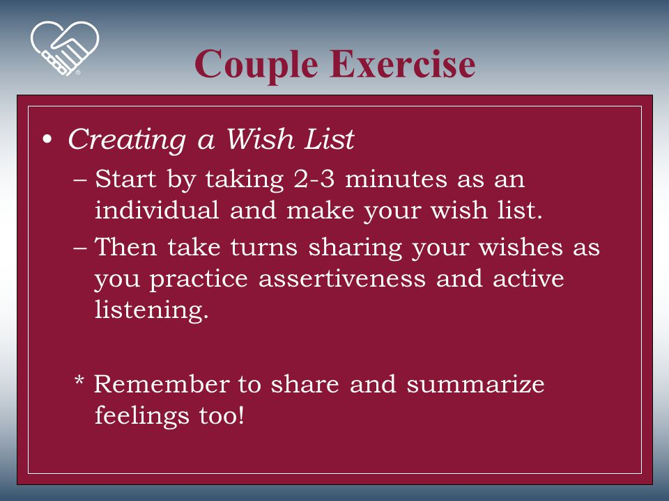 Couple Exercise Creating a Wish List
