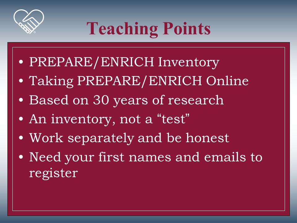 Teaching Points PREPARE/ENRICH Inventory Taking PREPARE/ENRICH Online