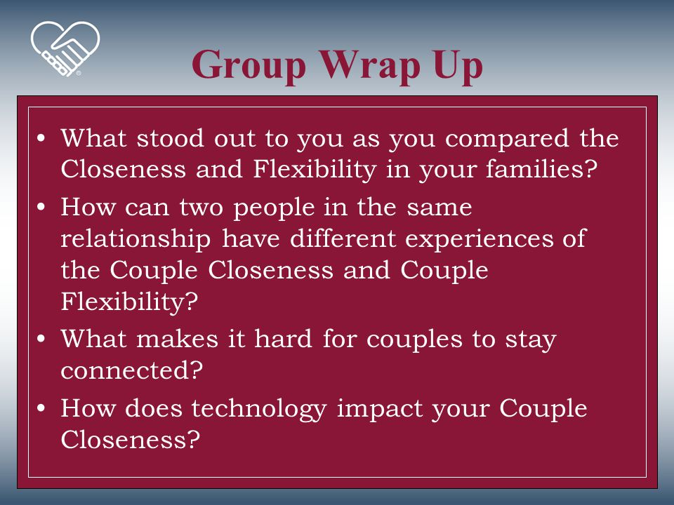 Group Wrap Up What stood out to you as you compared the Closeness and Flexibility in your families