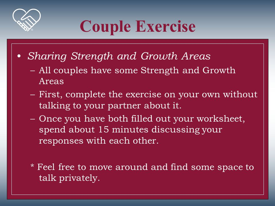 Couple Exercise Sharing Strength and Growth Areas