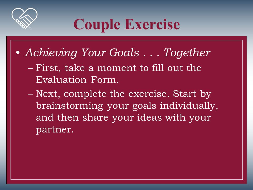 Couple Exercise Achieving Your Goals . . . Together
