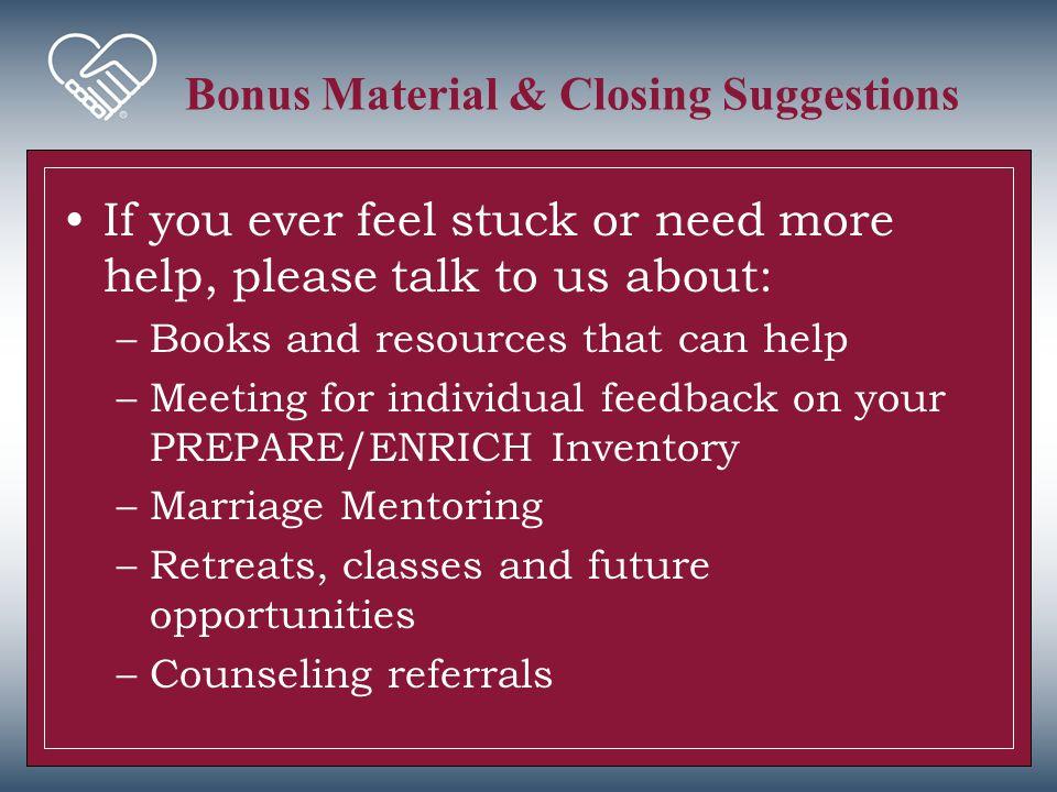 Bonus Material & Closing Suggestions