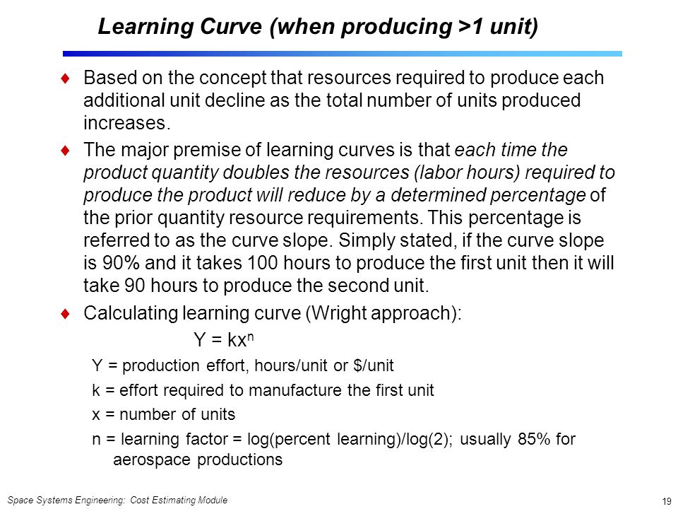 Learning Curve (when producing >1 unit)