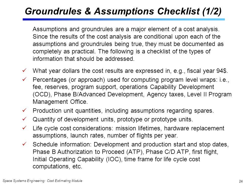 Groundrules & Assumptions Checklist (1/2)