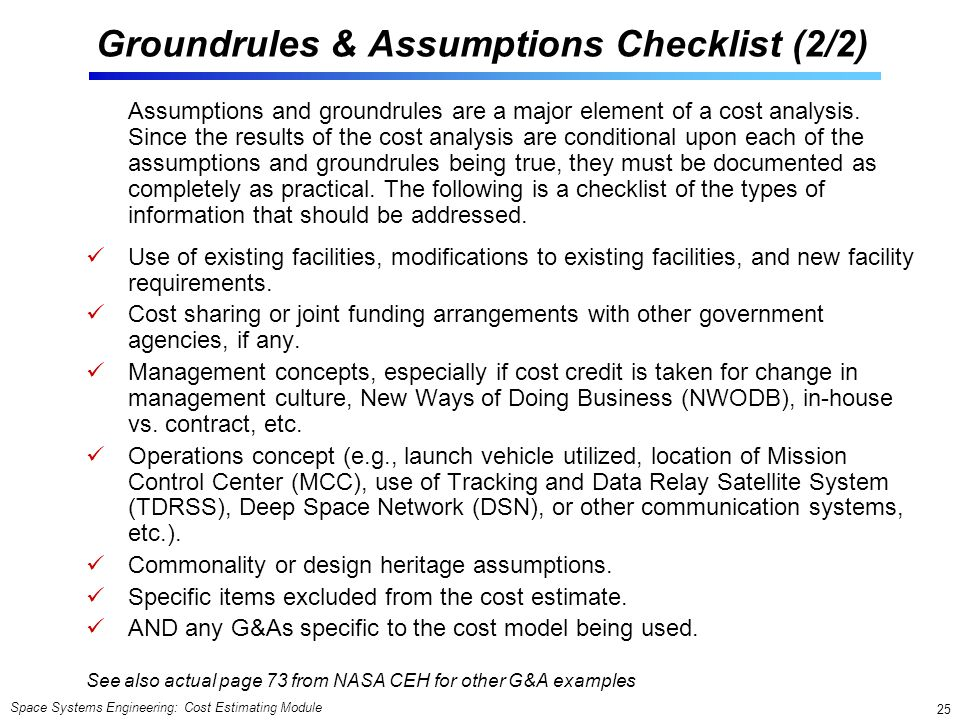 Groundrules & Assumptions Checklist (2/2)