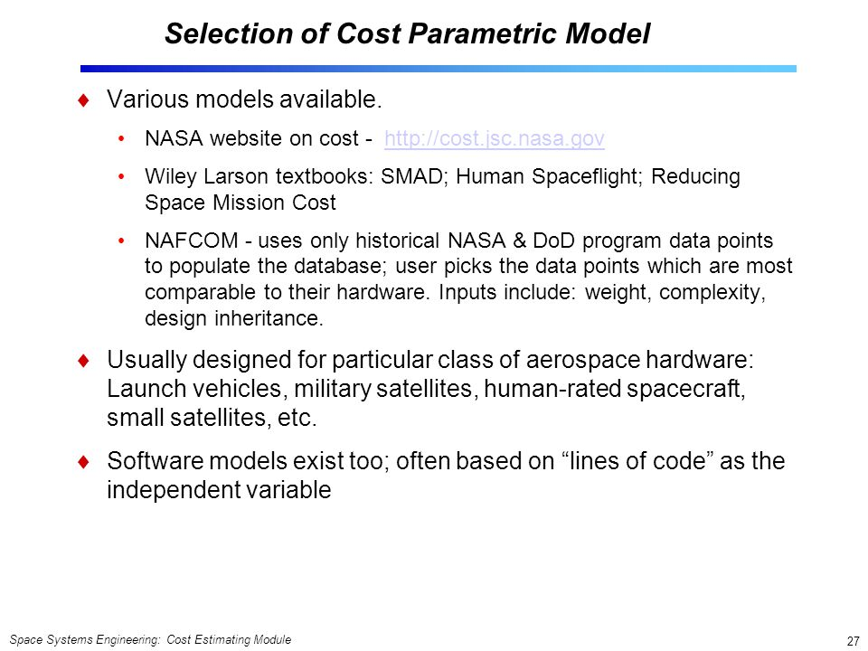 Selection of Cost Parametric Model