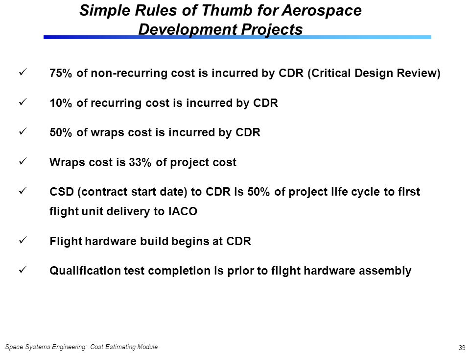 Simple Rules of Thumb for Aerospace Development Projects