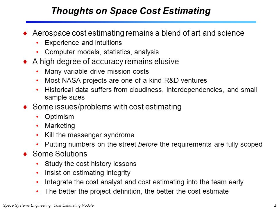 Thoughts on Space Cost Estimating