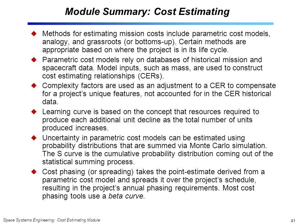 Module Summary: Cost Estimating