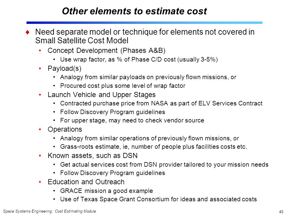 Other elements to estimate cost