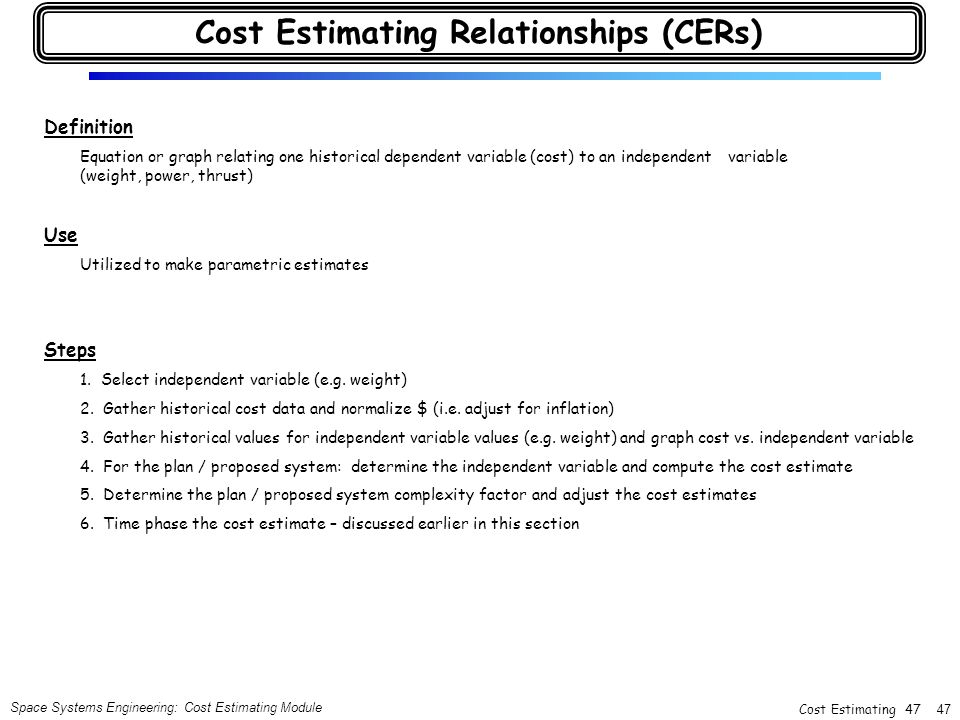 Cost Estimating Relationships (CERs)