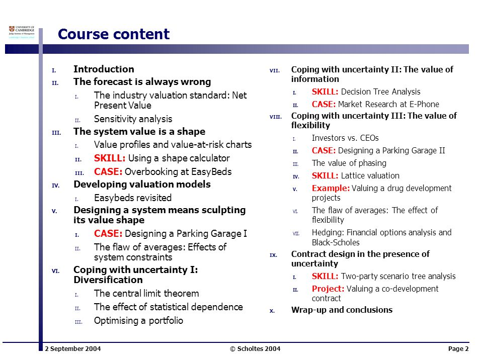 Course content Introduction The forecast is always wrong