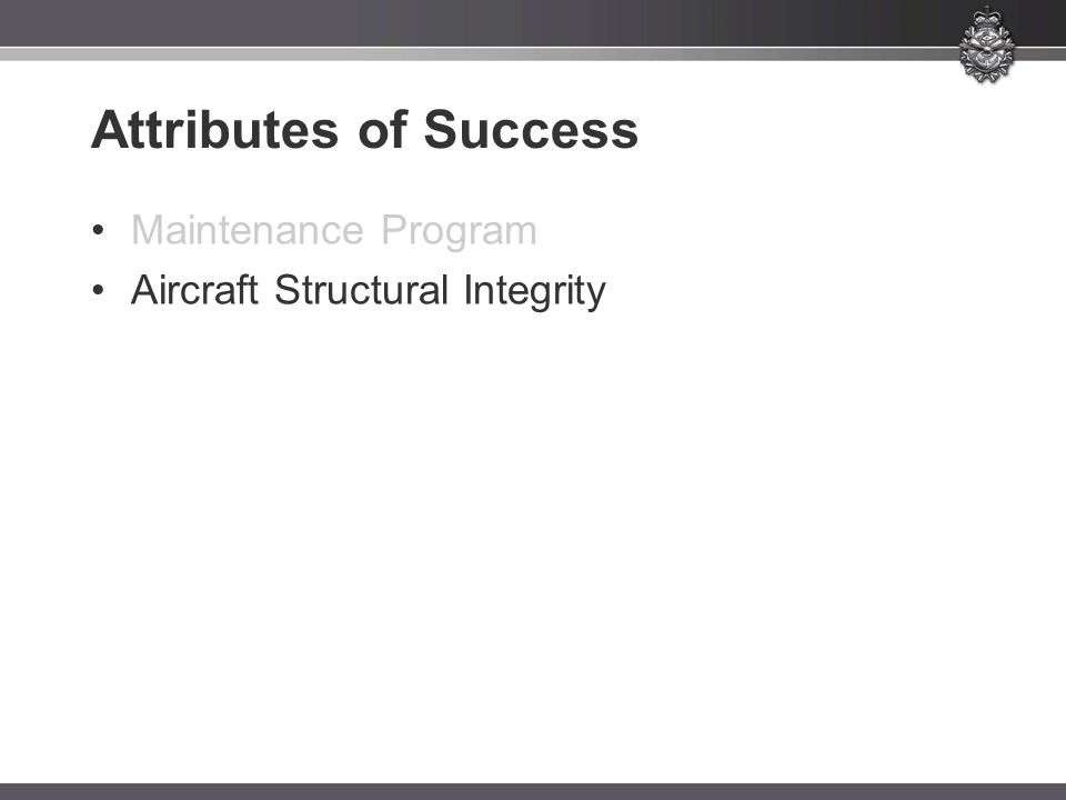 Attributes of Success Maintenance Program
