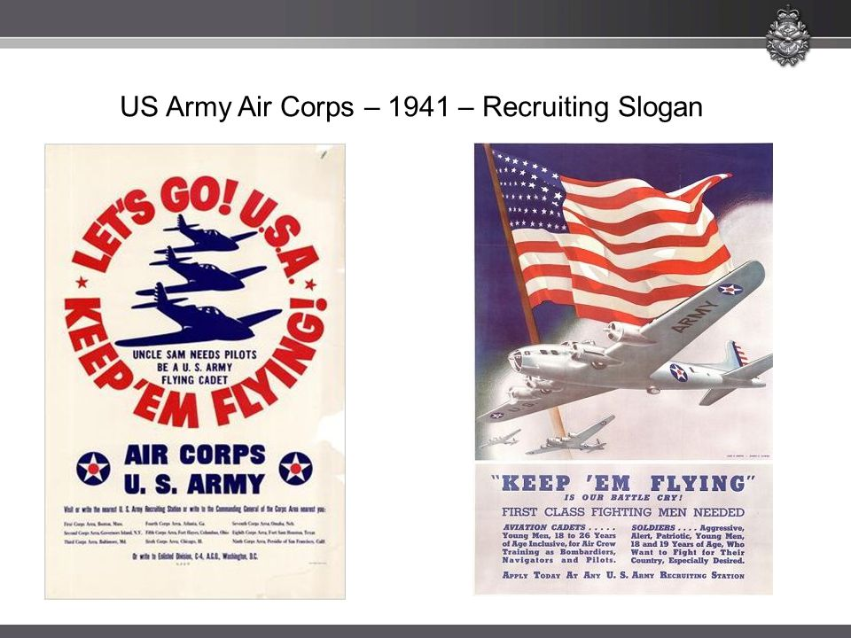 US Army Air Corps – 1941 – Recruiting Slogan