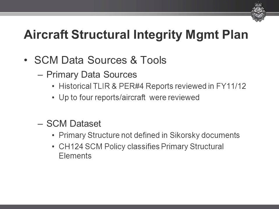 Aircraft Structural Integrity Mgmt Plan