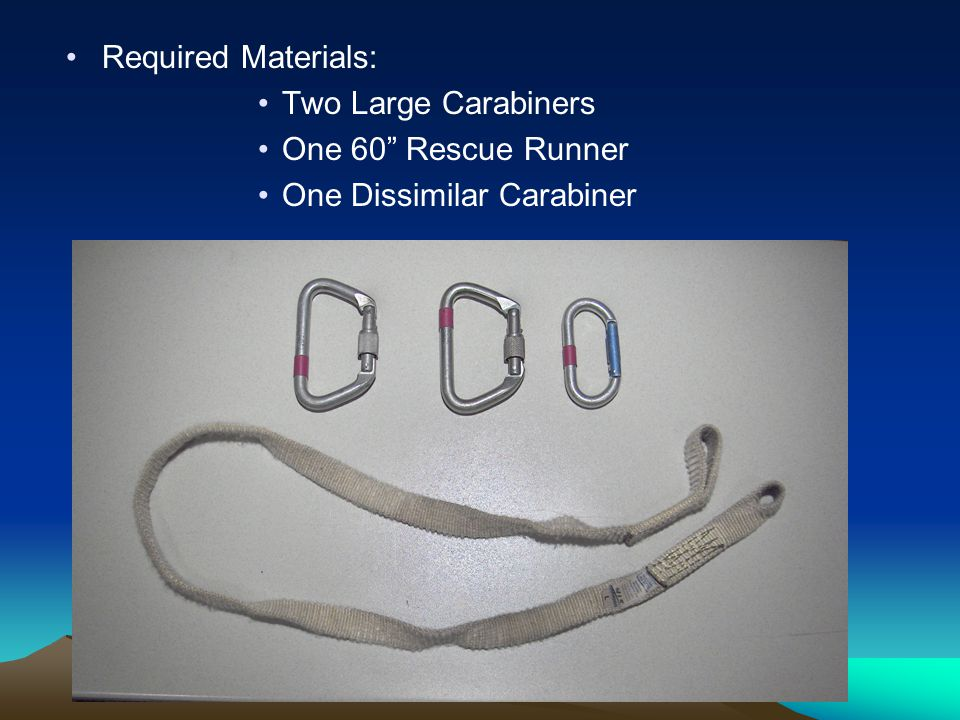 Required Materials: Two Large Carabiners One 60 Rescue Runner One Dissimilar Carabiner