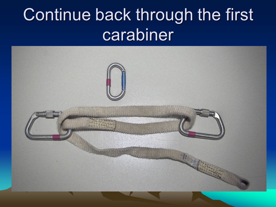 Continue back through the first carabiner