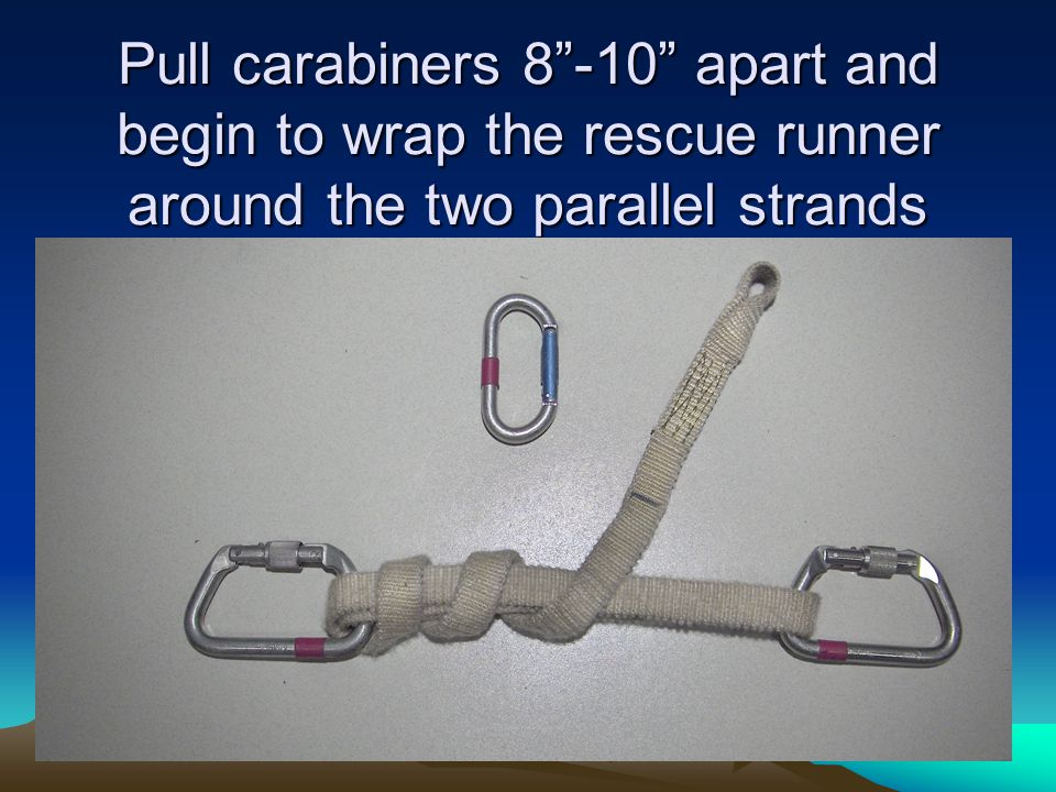 Pull carabiners 8 -10 apart and begin to wrap the rescue runner around the two parallel strands