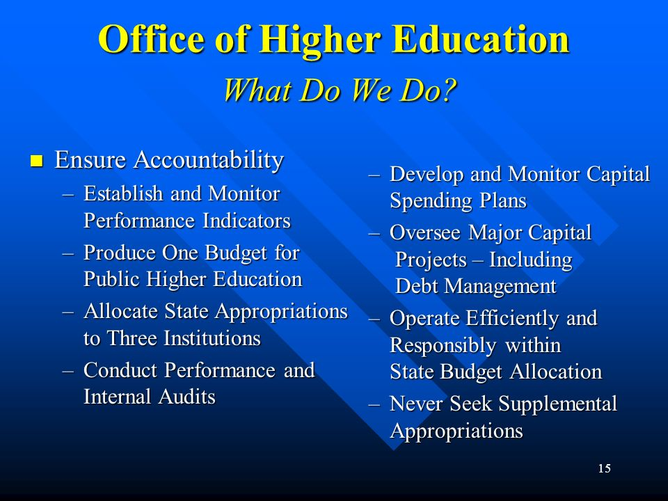 Office of Higher Education What Do We Do