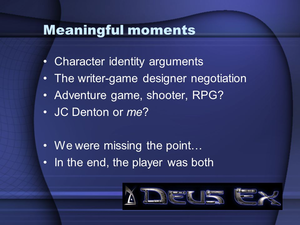 Meaningful moments Character identity arguments