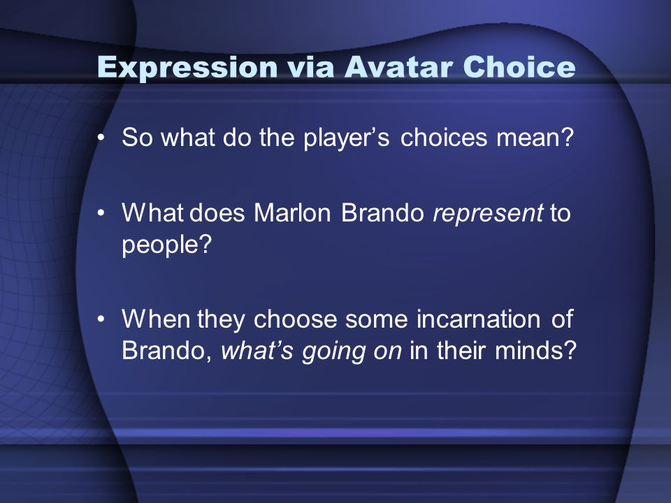 Expression via Avatar Choice