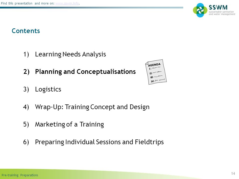 Learning Needs Analysis Planning and Conceptualisations Logistics