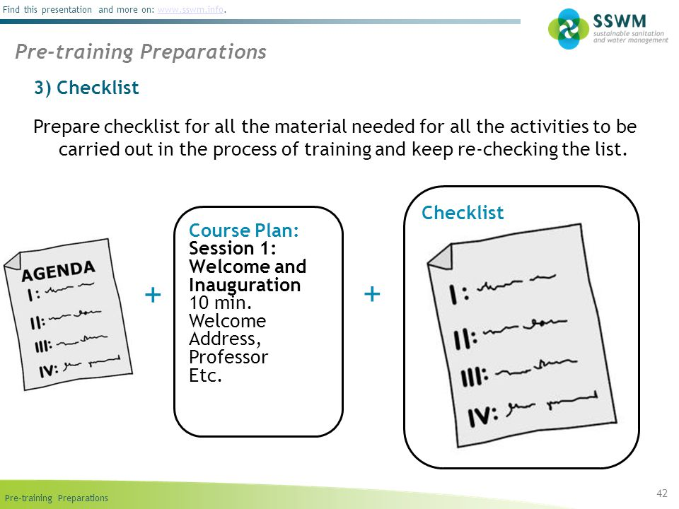 + + Pre-training Preparations 3) Checklist