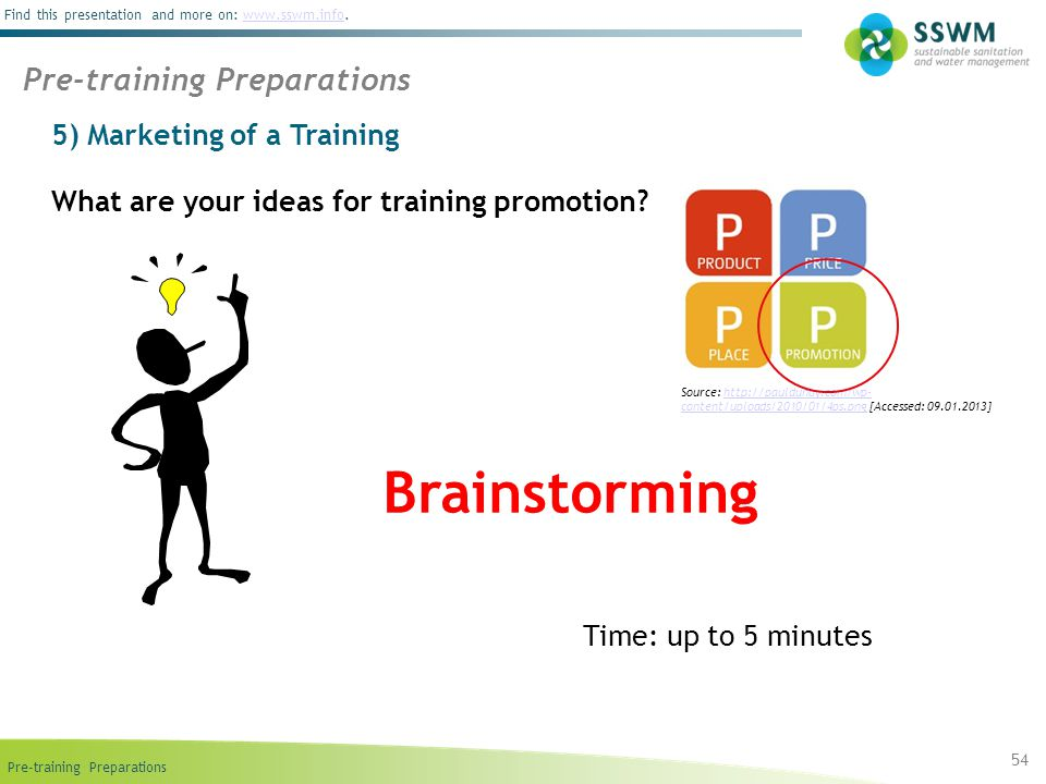 Brainstorming Pre-training Preparations 5) Marketing of a Training