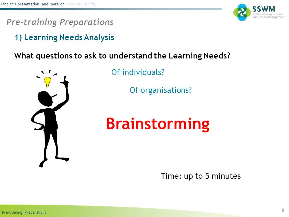Brainstorming Pre-training Preparations 1) Learning Needs Analysis