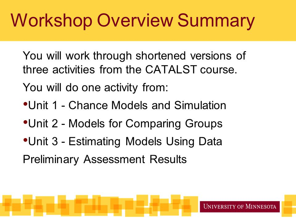 Workshop Overview Summary