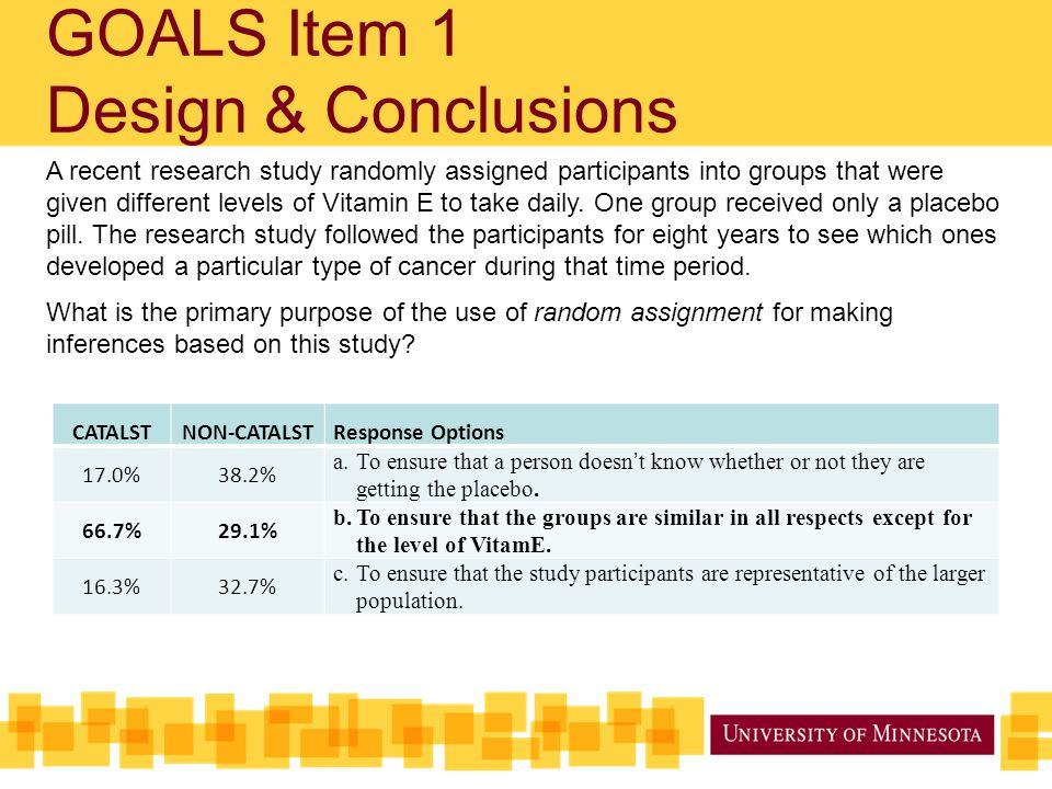 GOALS Item 1 Design & Conclusions