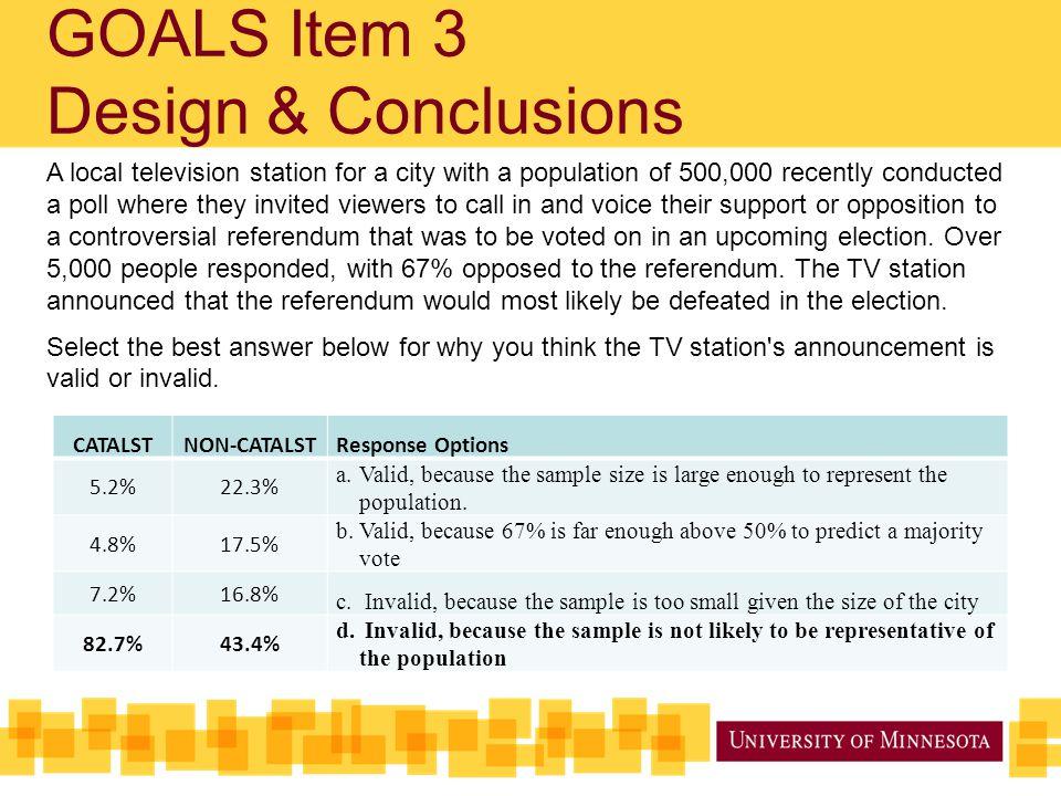 GOALS Item 3 Design & Conclusions