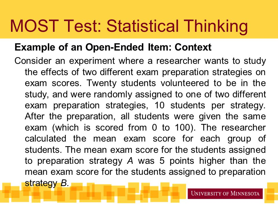 MOST Test: Statistical Thinking